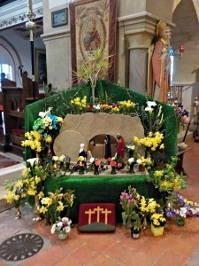 Optimized-Easter Garden - Children brought flowers to decorate it